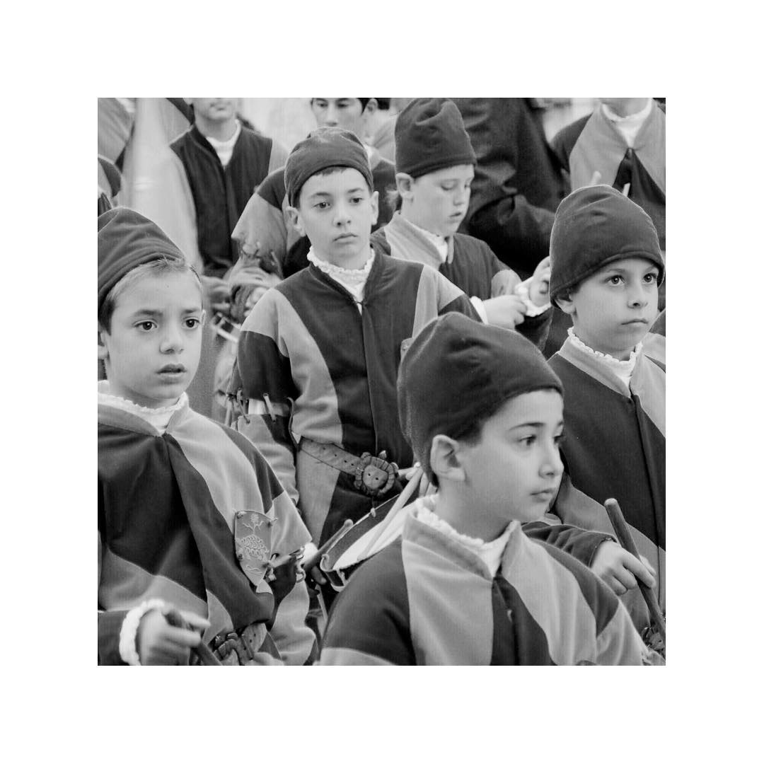 Young drummers await silently, in full tense, to start their first parade... Italy, 2007