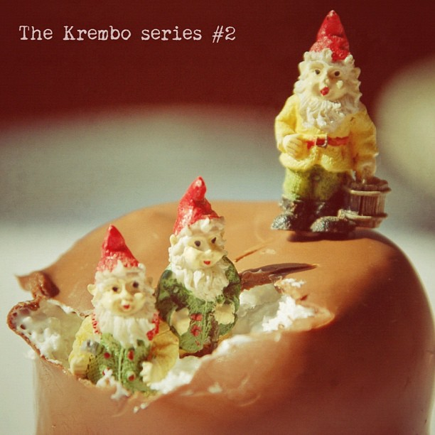Ok, I know this is not my usual style (what is my style, anyways?), but it's a holiday, my car ran away with my mechanic, I'm bored and I have 8 Krembos waiting to be photographed. So Rachel offered her gnomes, and together we styled the 2nd photo in the  series :)