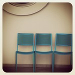Three blue chairs for...