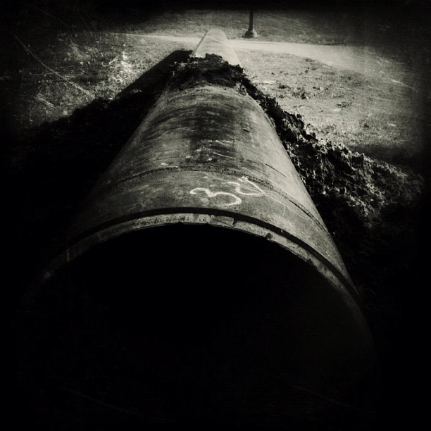 This could easily be a missile, but it's just a sewer pipe.